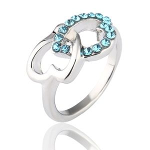 Platinum Double Open Heart Blue Crystal Ring
